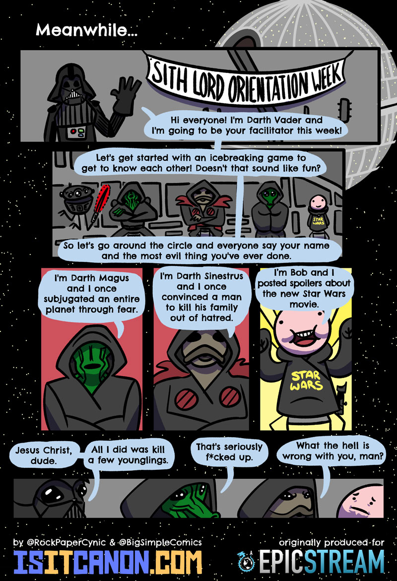 At orientation week on the Death Star, Darth Vader leads aspiring Sith Lords through a discussion on the most evil thing
